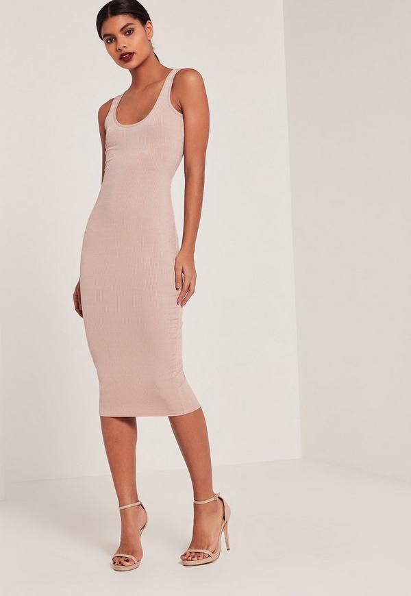 Pink Ribbed Longline Midi Dress