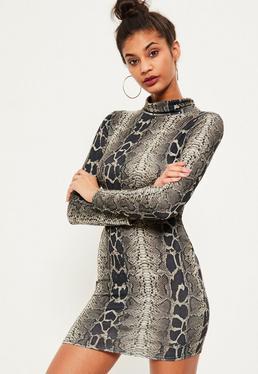 Brown snake print high neck curved hem bodycon dress