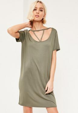 Khaki Triangle Strap Front Oversized T-Shirt Dress