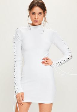 White Eyelet Sleeve Rib Bodycon Dress