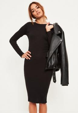Black Long Sleeve Rib Midi Dress