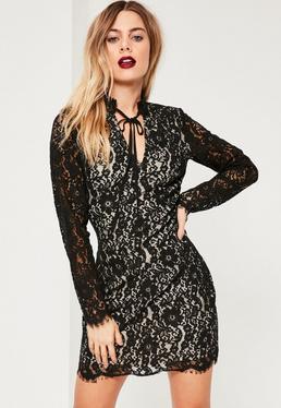 Black Lace Tie Neck Bodycon Dress