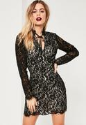 Black Lace Tie Neck Bodycon Dress