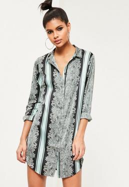 Black Paisley Print Shirt Dress
