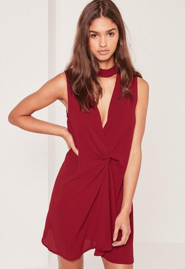 Choker Neck Twist Front Dress Red