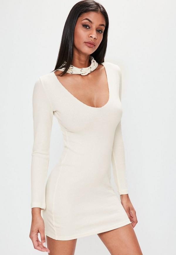 Cream eyelet choker neck bodycon dress