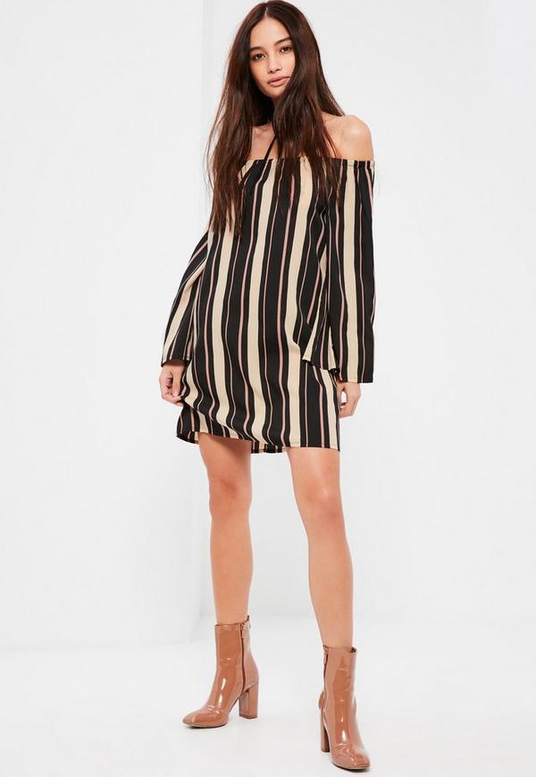Multi Dark Stripe Bardot Dress