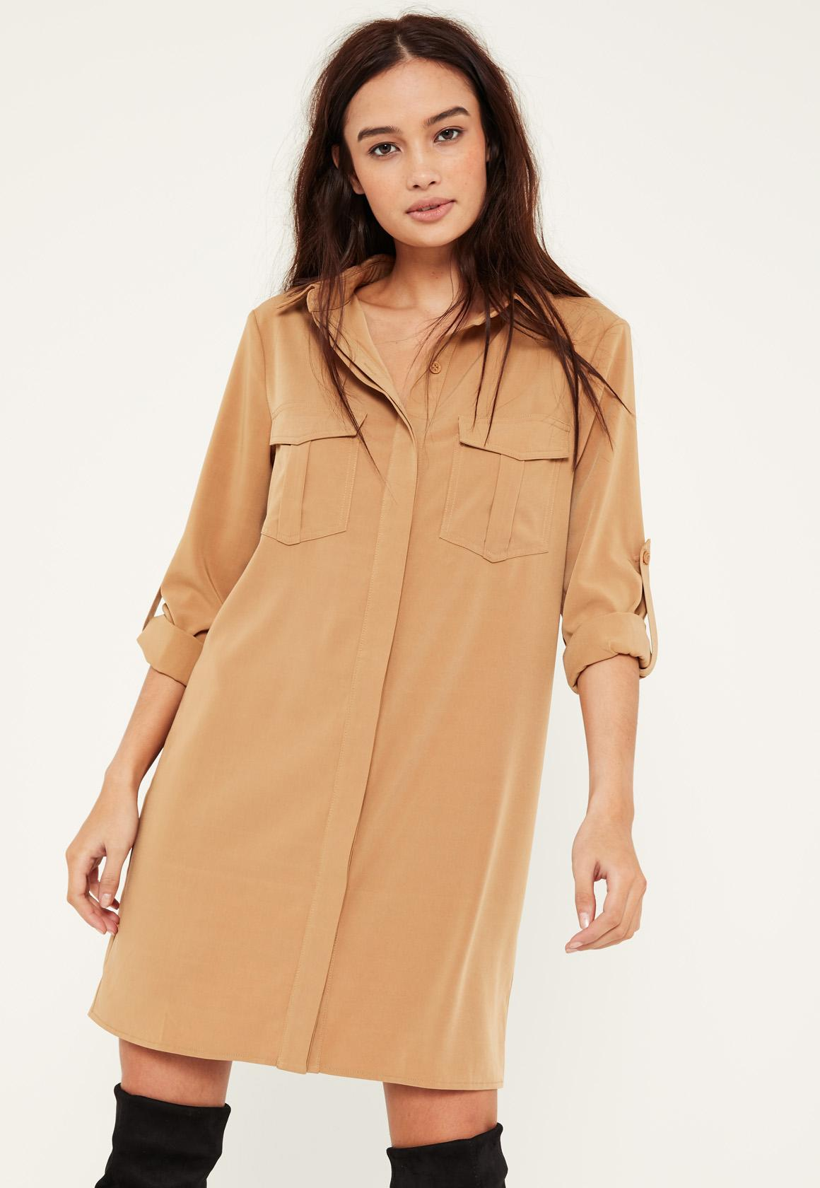 Camel Turn Up Sleeve Pocket Front Shirt Dress