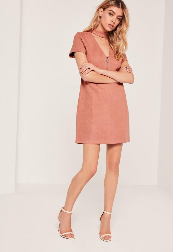 Faux Suede Choker Neck Zip Detail Dress Pink