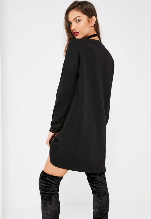 Black Christmas Slogan Jumper Dress | Missguided
