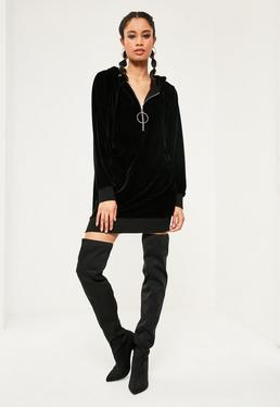 Black Velour Hooded Zip Detail Jumper Dress