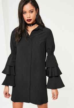 Czarna sukienka koszulowa z falbankami na rękawach