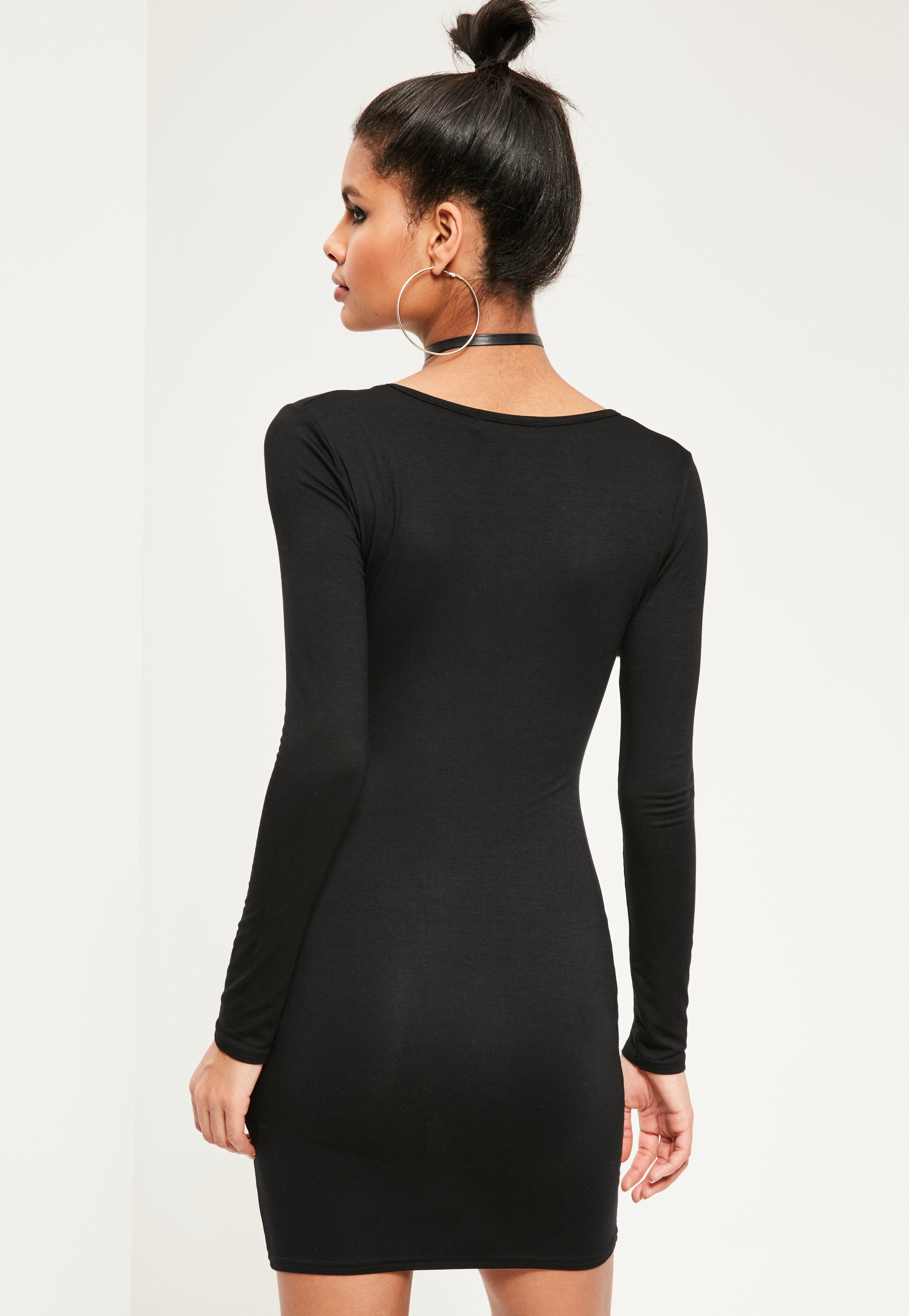 Black Keyhole Long Sleeve Bodycon Dress