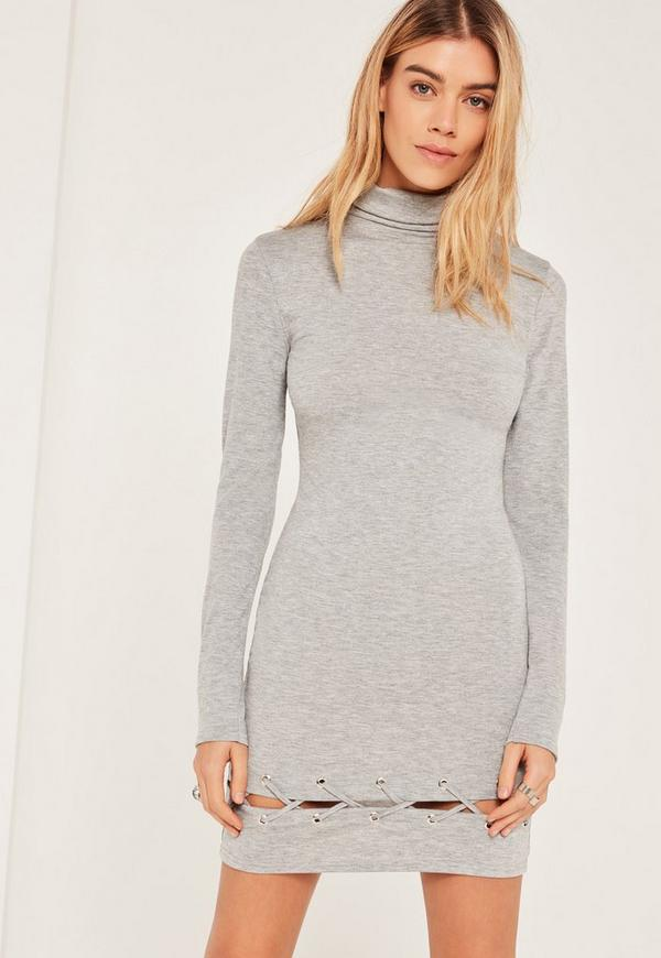 Grey Lace Up Hem Bodycon Dress
