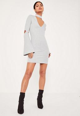 Grey Choker Neck Flared Sleeve Bodycon Dress