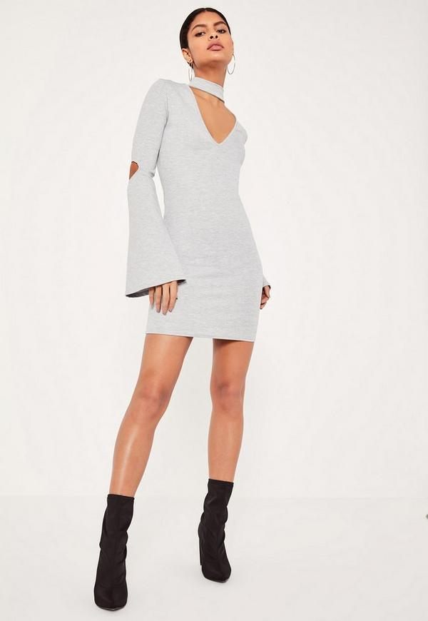 Grey Choker Neck Flared Sleeve Bodycon Dress