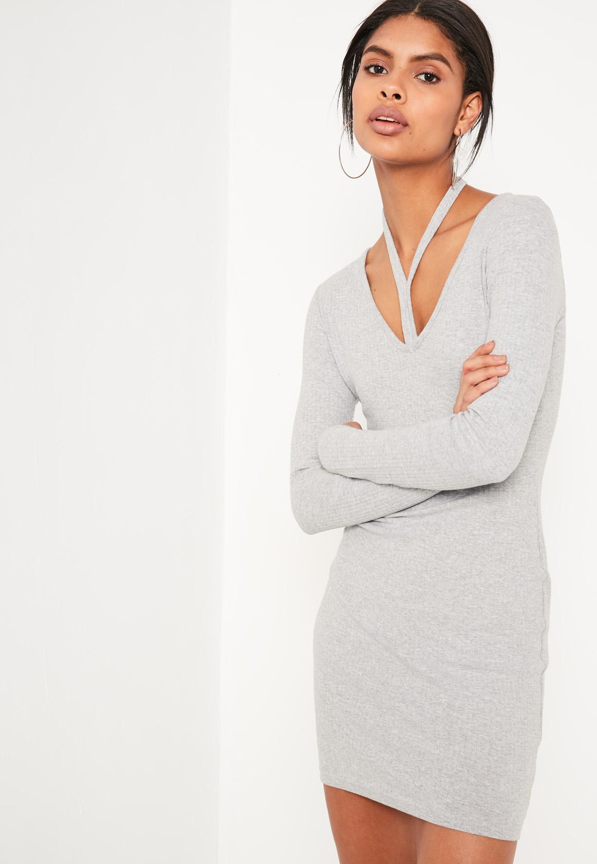 Grey Harness Neck Long Sleeve Bodycon Dress
