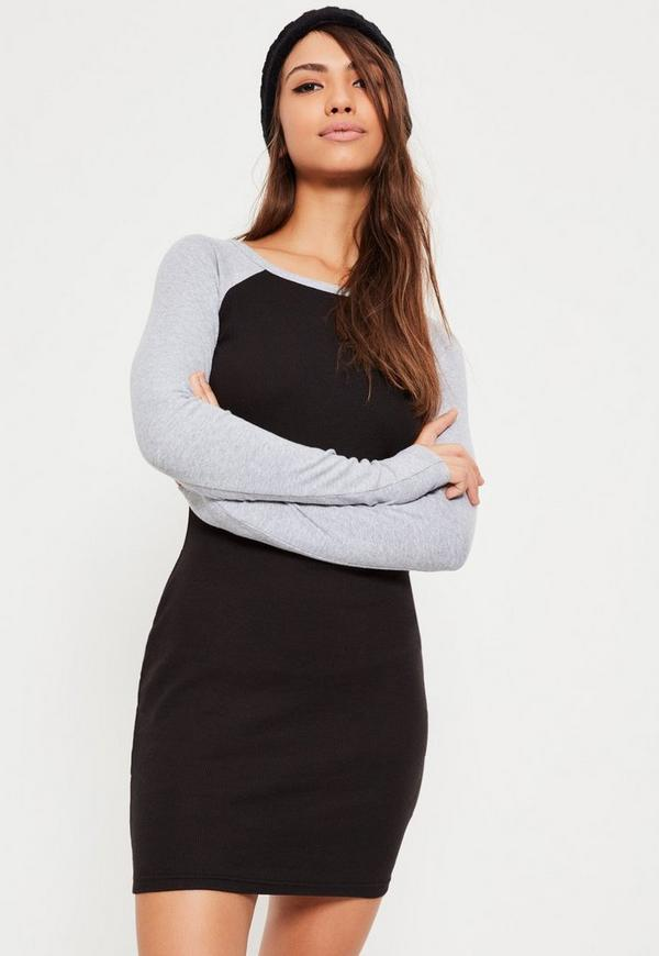 Black Contrast Sleeve Ribbed Bodycon Dress