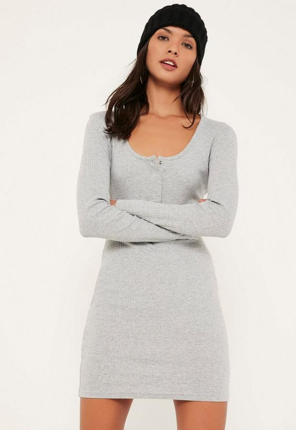 Grey Long Sleeve Half Placket Popper Dress