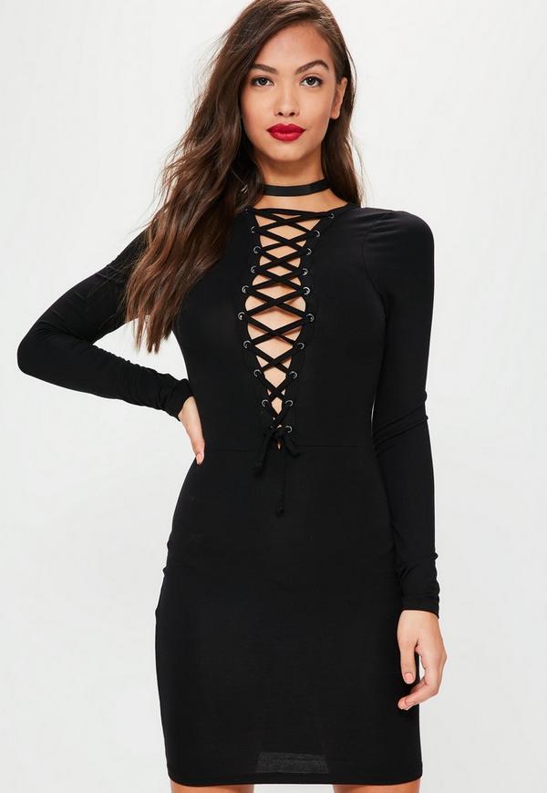 Black Lattice Neck Long Sleeve Mini Dress