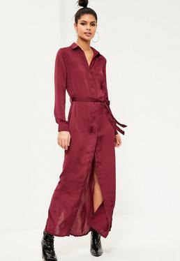 Burgundy Satin Maxi Shirt Dress