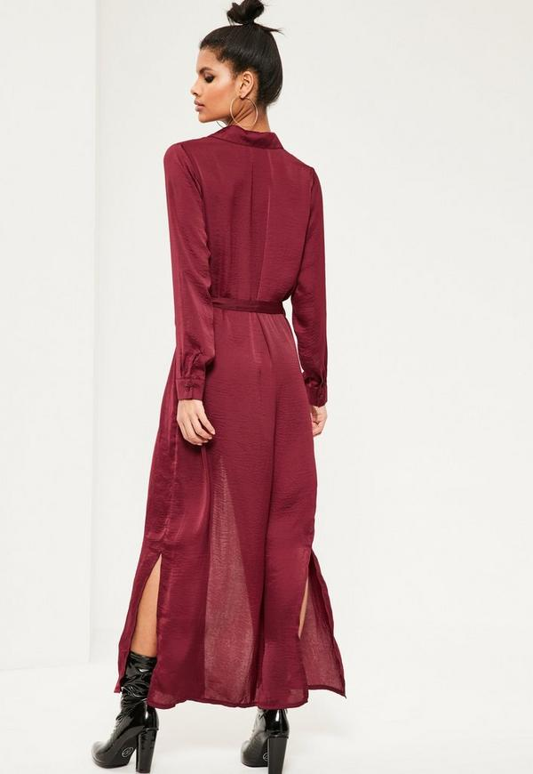 Burgundy Satin Maxi Shirt Dress | Missguided