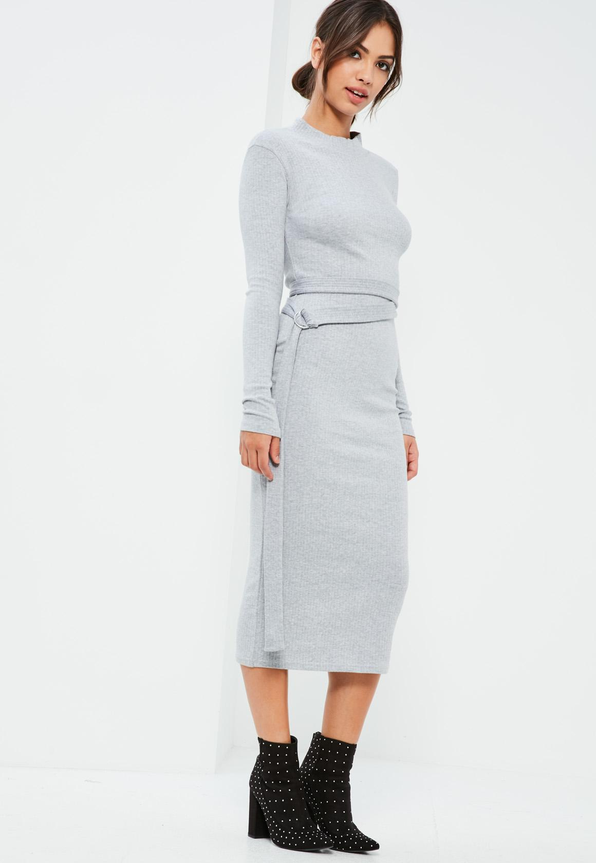 Grey D Ring Belted Ribbed Midi Dress