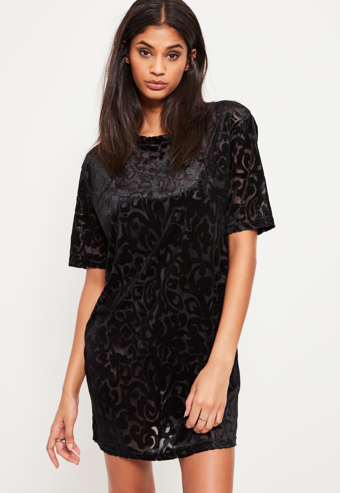 a7a2ca8772543 Black Burnout T Shirt Dress | Missguided
