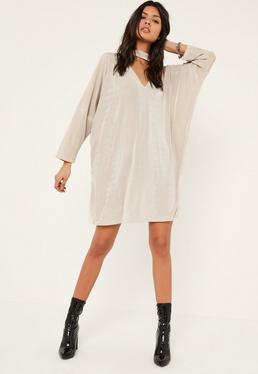 Cream Oversized Choker Neck Slinky Dress