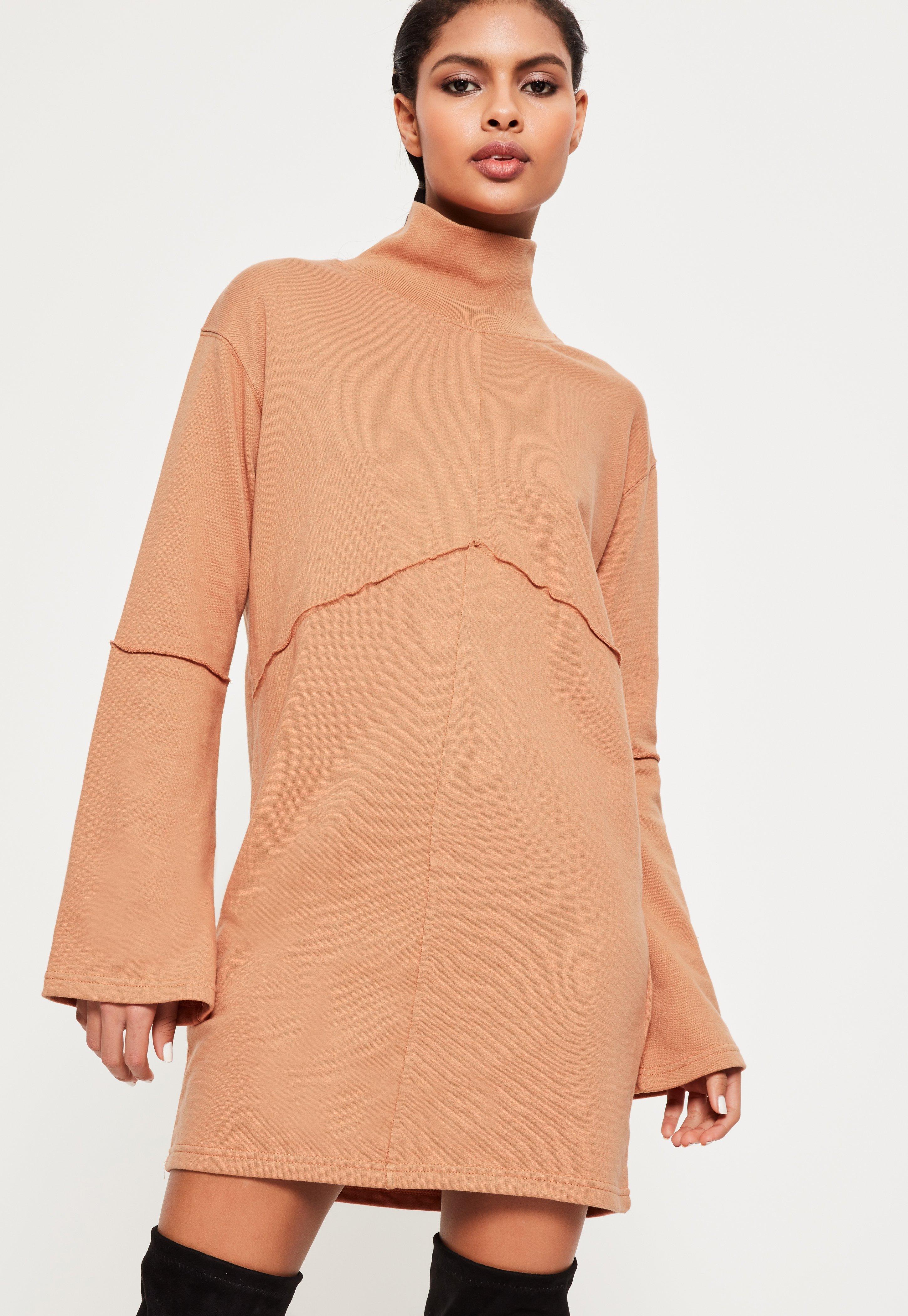 Nude Flared Sleeve Dress