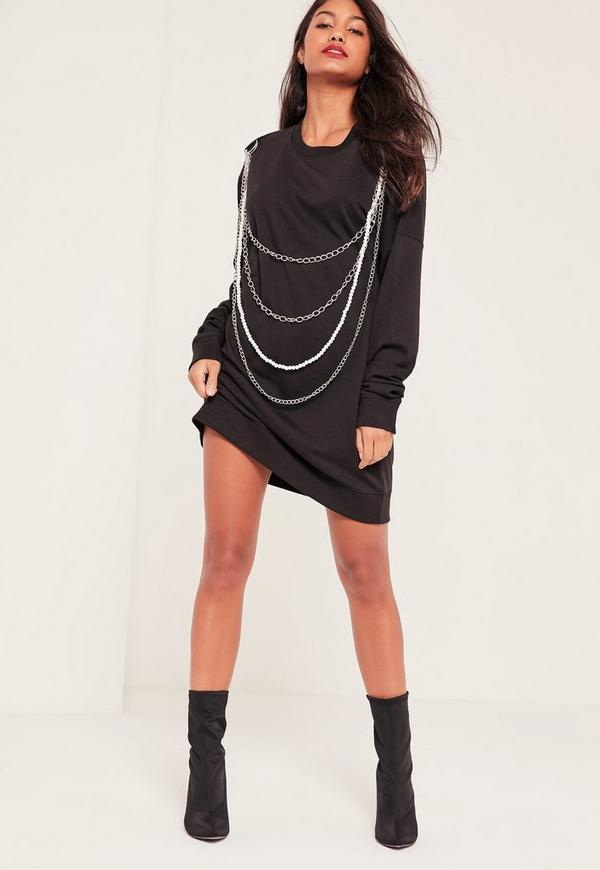 Black Chain & Pearl Detail Sweater Dress