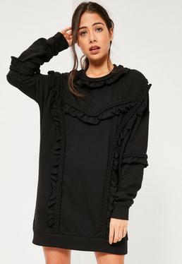Robe sweat noire à froufrous