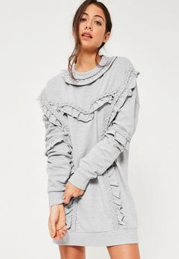 Grey Plait Detail Jumper Dress