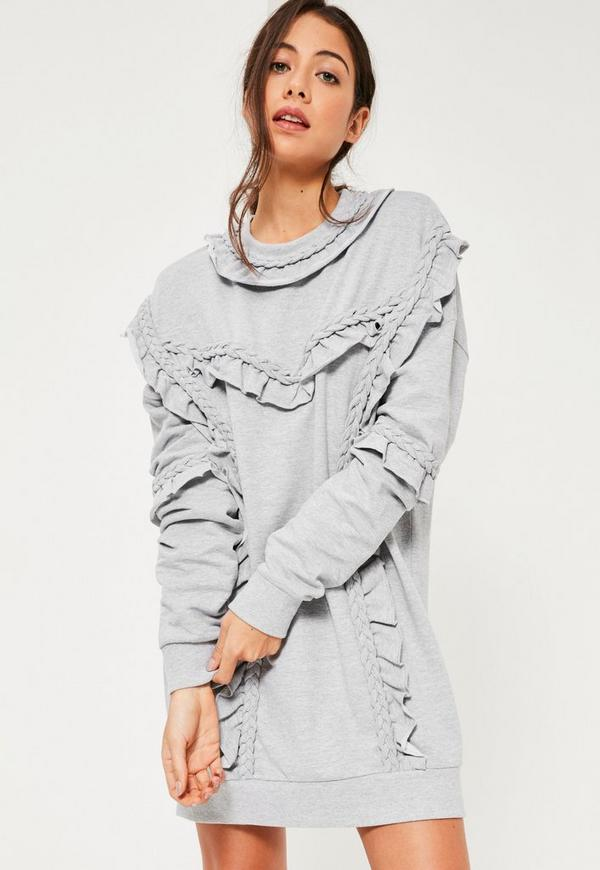 Grey Plait Detail Jumper Dress