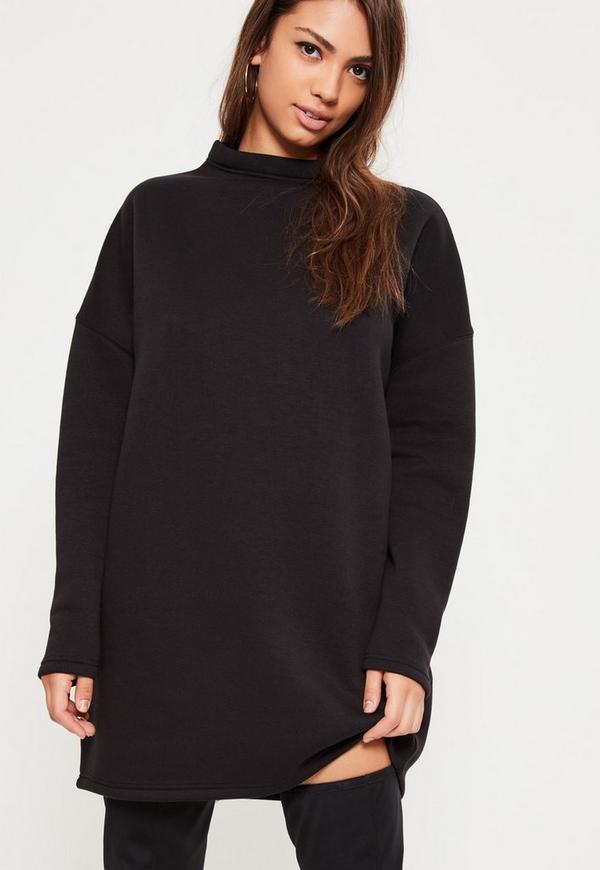 black high neck sweater dress