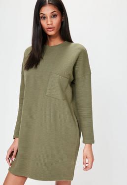 Khaki Ribbed Pocket Sweater Dress