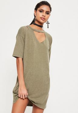 Khaki Ripped Oversized T Shirt Dress