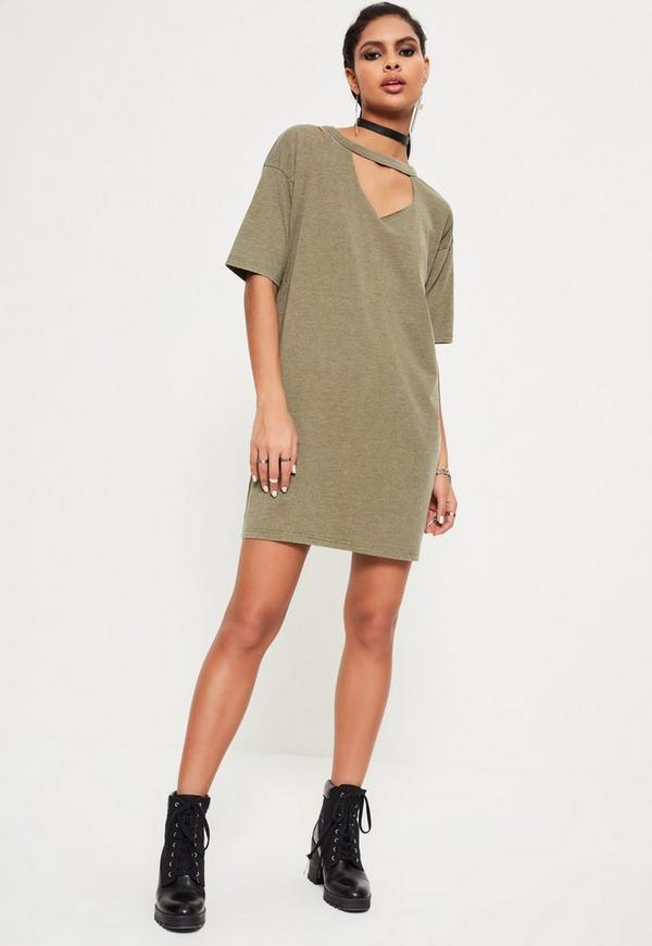 Zerrissenes Oversize-T-Shirt-Kleid in Khaki | Missguided