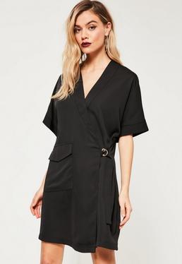 Black Single Pocket Front Buckle Side Dress