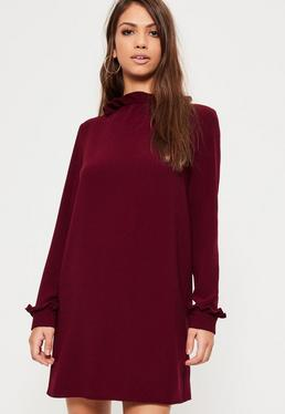 Burgundy Crepe Victorian Style Shift Dress