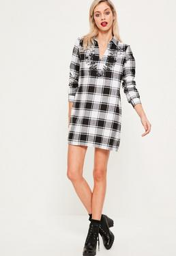 Black Embroidered Check Dress