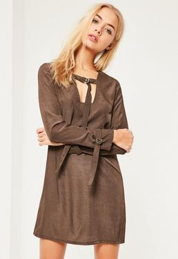 Khaki D Ring Neck Shift Dress