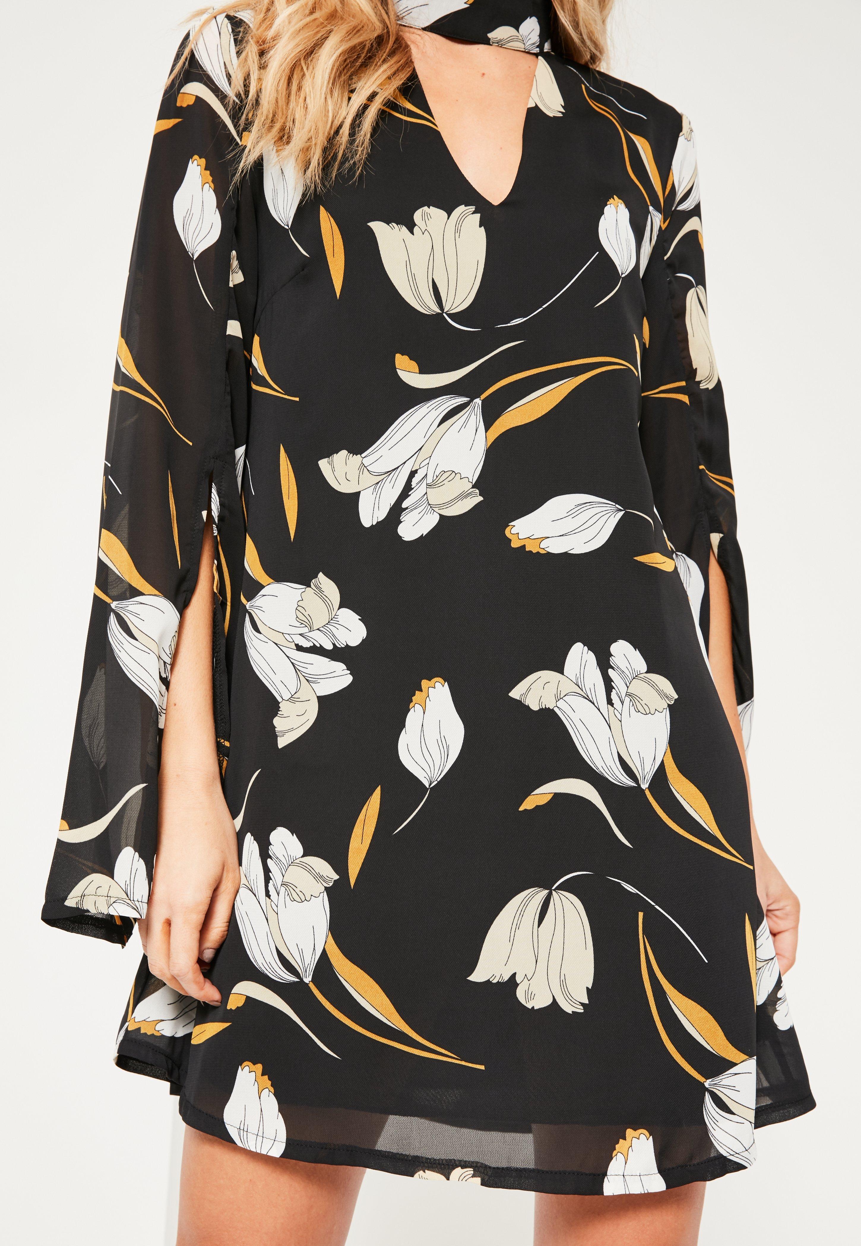 Black Tulip Print Choker Neck Shift Dress