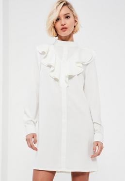 White High Neck Ruffle Front Long Sleeve Shift Dress