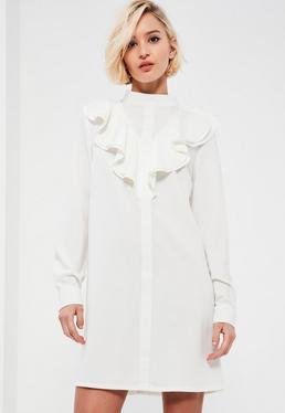 White High Neck Ruffle Front Long Sleeve Shift Dress