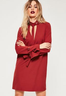 Red Tie Neck and Cuff Shift Dress