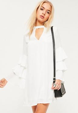 White Pleated Ruffle Sleeve Choker Neck Shift Dress