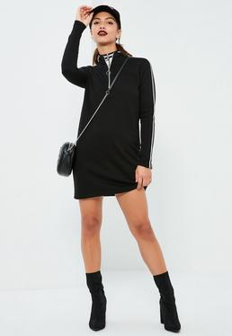 Black Sports Rib Neck Long Sleeve Dress