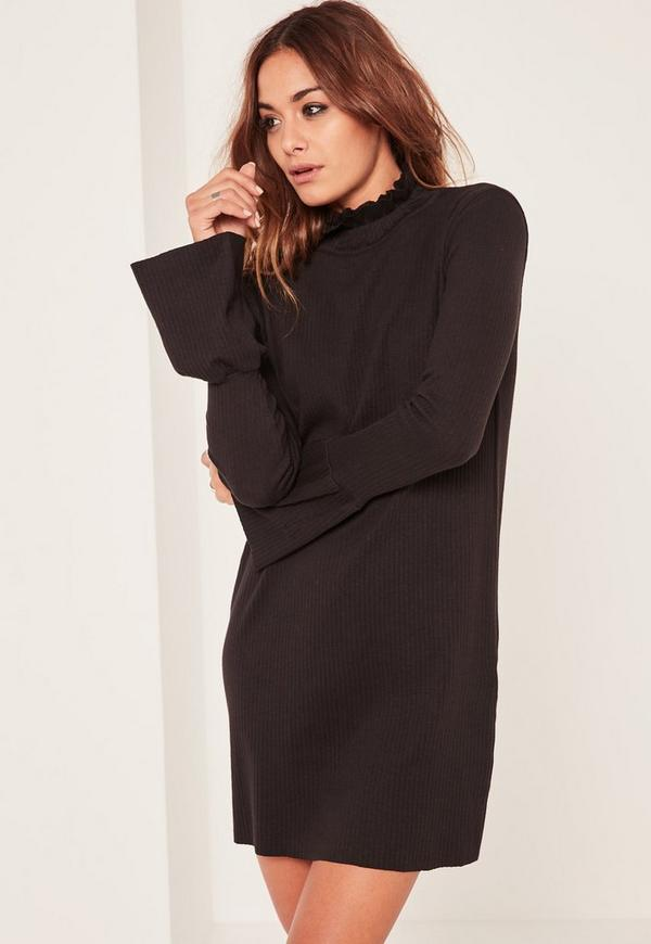 Black Flounce Sleeve High Neck Rib Shift Dress