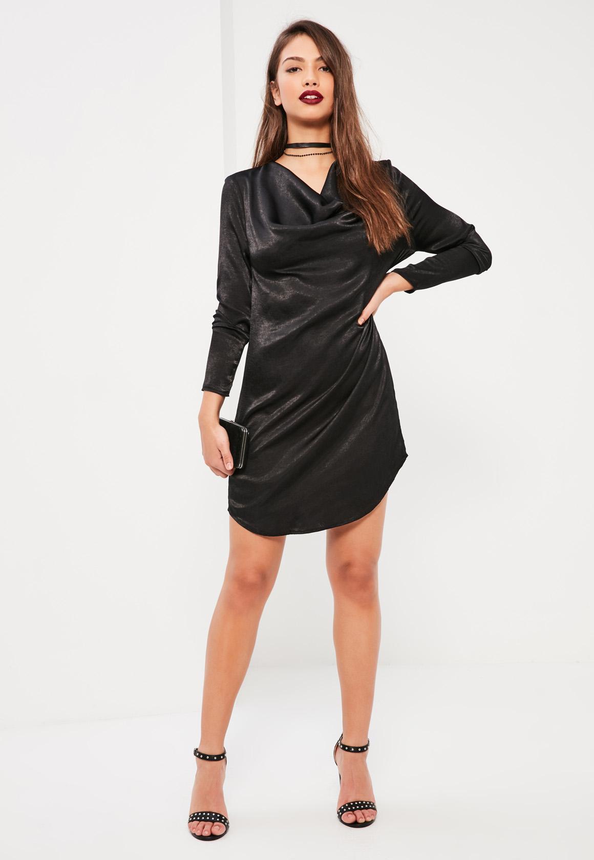 Black Cowl Neck Satin Dress